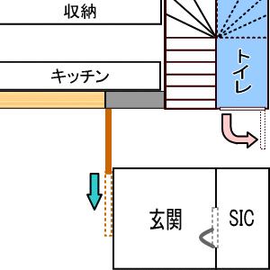 トイレとシューズインクローゼットの位置