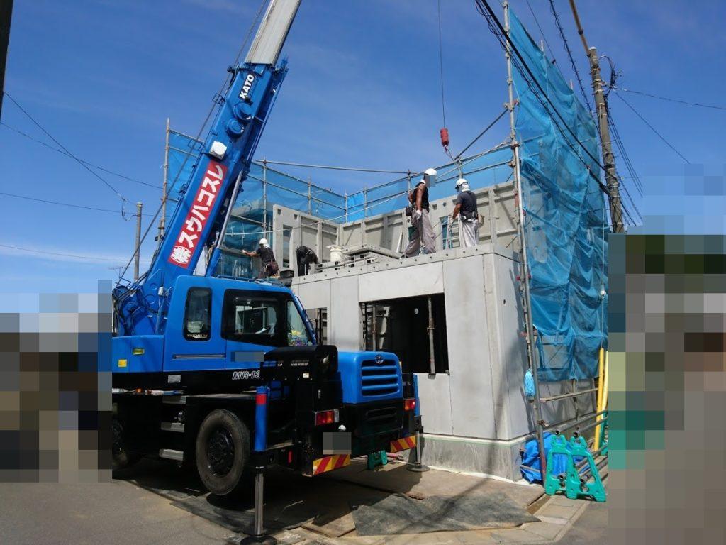 2階部分にコンクリートの壁を設置が設置されているところ