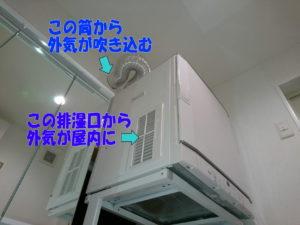 ガス乾燥機から外気が侵入
