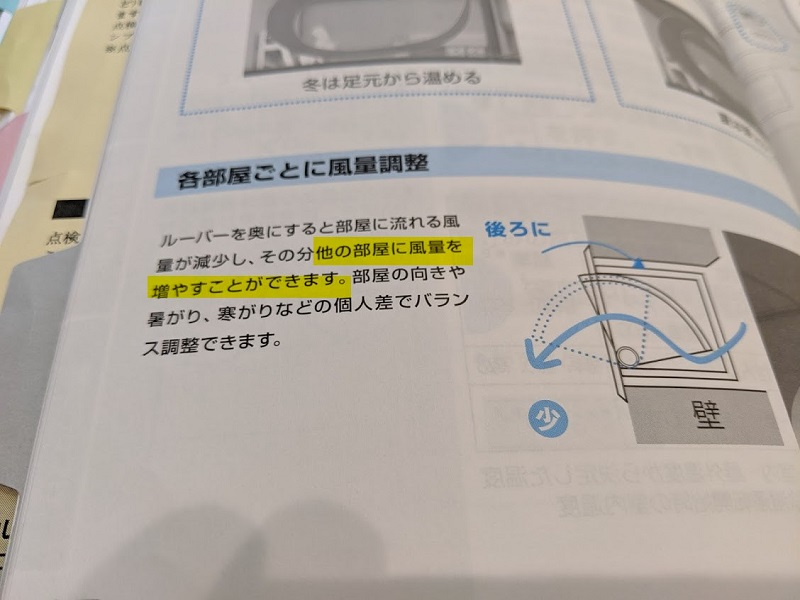 Z空調、他の部屋の風量を増やす
